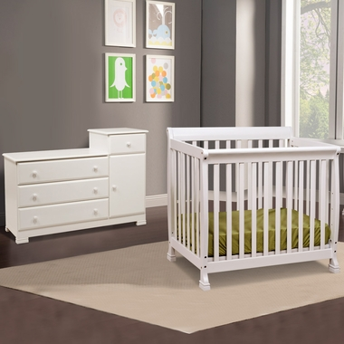 da vinci 2 nursery set kalani mini crib and combo changer dresser in white free shipping
