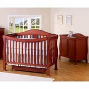 DaVinci 2 Piece Nursery Set - Parker 4 in 1 Convertible Crib with Toddler Rail and 2 Door Changing Table in Cherry