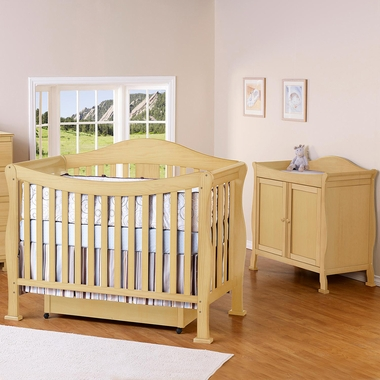 DaVinci 2 Piece Nursery Set   Parker 4 In 1 Convertible Crib With Toddler  Rail And