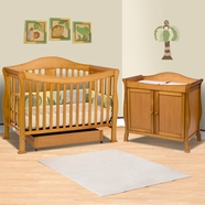 DaVinci 2 Piece Nursery Set - Parker 4 in 1 Convertible Crib with Toddler Rail and 2 Door Changing Table - Oak