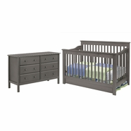 DaVinci 2 Piece Nursery Set - Piedmont 4 in 1 Convertible Crib and 6 Drawer Double Dresser in Slate