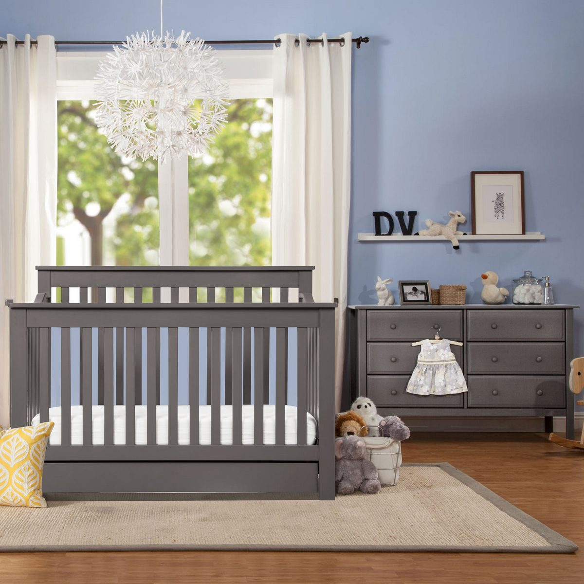 Davinci 2 Piece Nursery Set Piedmont 4 In 1 Convertible Crib And 6 Drawer Double Dresser In Slate Free Shipping