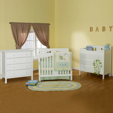 DaVinci 3 Piece Nursery Set - Annabelle Mini Convertible Crib, Jayden 3 Drawer Changer and Jayden 4 Drawer Dresser in White - Click to enlarge