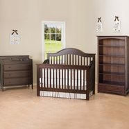 DaVinci 3 Piece Nursery Set - Jayden 4 in 1 Convertible Crib with Toddler Rail, 3 Drawer Changer and Bookcase in Espresso