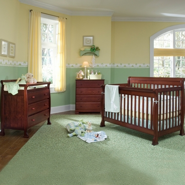DaVinci 3 Piece Nursery Set - Kalani 4 in 1 Convertible Crib with Toddler Rail, 3 Drawer Changer and 4 Drawer Dresser in Cherry - Click to enlarge