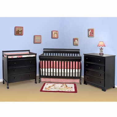 DaVinci 3 Piece Nursery Set - Kalani 4 in 1 Convertible Crib with Toddler Rail, 3 Drawer Changer and 4 Drawer Dresser in Ebony - Click to enlarge