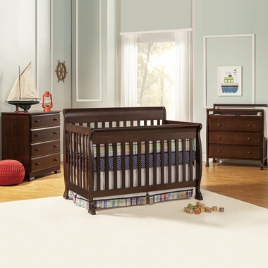 DaVinci 3 Piece Nursery Set - Kalani 4 in 1 Convertible Crib with Toddler Rail, 3 Drawer Changer and 4 Drawer Dresser in Espresso - Click to enlarge