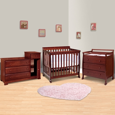 Mini Crib, 3 Drawer Changing Table And Combo Changing Table/Dresser