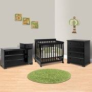 DaVinci 3 Piece Nursery Set - Kalani Mini Crib, 4 Drawer Dresser and Combo Changer/Dresser in Ebony