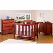 DaVinci 3 Piece Nursery Set - Parker 4 in 1 Convertible Crib with Toddler Rail, 2 Door Changing Table and 4 Drawer Dresser - Cherry