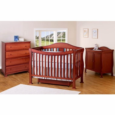 DaVinci 3 Piece Nursery Set - Parker 4 in 1 Convertible Crib with Toddler Rail, 2 Door Changing Table and 4 Drawer Dresser - Cherry - Click to enlarge