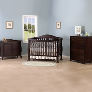DaVinci 3 Piece Nursery Set - Parker 4 in 1 Convertible Crib with Toddler Rail, 2 Door Changing Table and 4 Drawer Dresser in Coffee