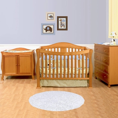 DaVinci 3 Piece Nursery Set   Parker 4 In 1 Convertible Crib With Toddler  Rail,