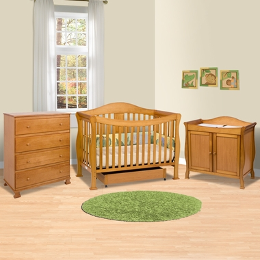 Da Vinci 3 Piece Nursery Set Parker 4 In 1 Convertible Crib Amp Door Changing Table Amp 4 Drawer