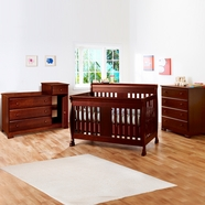 DaVinci 3 Piece Nursery Set - Porter Convertible Crib, Kalani Combo Dresser / Changer and Kalani 4 Drawer Dresser in Cherry