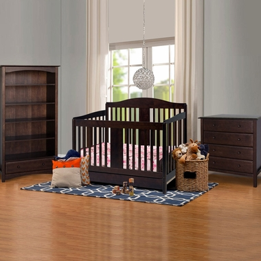 DaVinci 3 Piece Nursery Set - Richmond 4 in 1 Convertible Crib with Toddler Rail, 4 Drawer Dresser and 5 Shelf Bookcase in Espresso