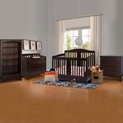 DaVinci 4 Piece Nursery Set - Richmond 4 in 1 Convertible Crib with Toddler Rail, 3 Drawer Changer, 4 Drawer Dresser and Bookcase in Espresso