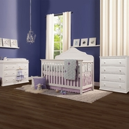 DaVinci Flora 2 Piece Nursery Set - 4 in 1 Convertible Crib, Signature 4-Drawer Tall Dresser and 6-Drawer Double Dresser in White
