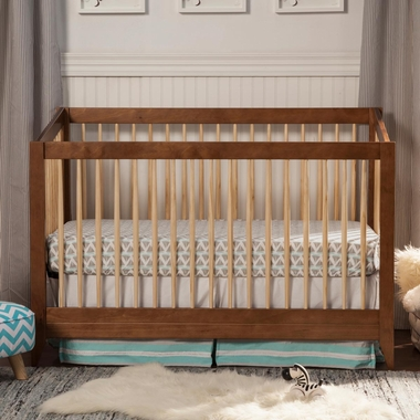 DaVinci Highland 4 In 1 Convertible Crib With Toddler Rail In Chestnut With  Natural