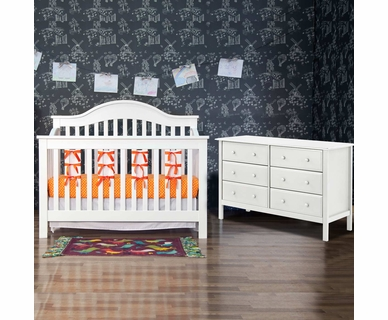 Davinci Jayden 2 Piece Nursery Set - 4 in 1 Convertible Crib and 6 Drawer Double Dresser in White