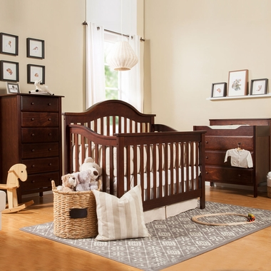DaVinci Jayden 3 Piece Nursery Set - 4 in 1 Convertible Crib, 3 Drawer Changer and 6 Drawer Tall Dresser in Espresso - Click to enlarge