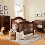 DaVinci Jayden 3 Piece Nursery Set - 4 in 1 Convertible Crib, 3 Drawer Changer and 6 Drawer Tall Dresser in Espresso