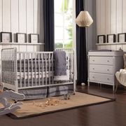 DaVinci Jenny Lind 2 Piece Nursery Set - Convertible Crib and 3-Drawer Changer Dresser in Fog Grey