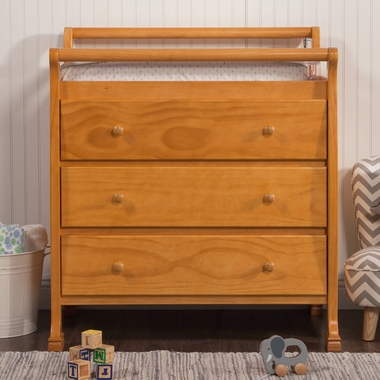 Davinci Kalani 3 Drawer Changer In Honey Oak Click To Enlarge
