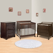 DaVinci Kalani 3 Piece Nursery Set -  Mini Crib, 3 Drawer Changing Table and 4 Drawer Dresser in Espresso