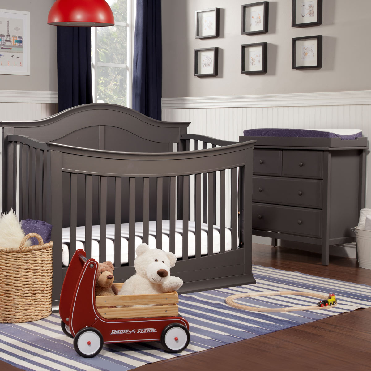 Davinci Meadow 2 Piece Nursery Set 4 In 1 Convertible Crib And Autumn Changer Dresser Slate Free Shipping