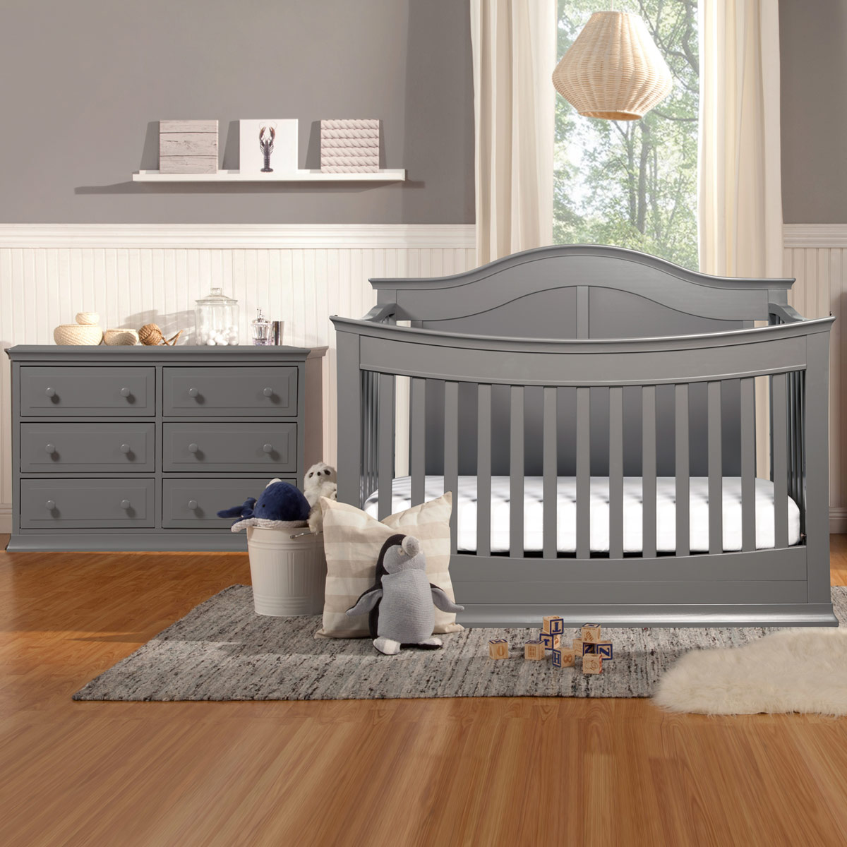 Davinci Meadow 2 Piece Nursery Set 4 In 1 Convertible Crib And Signature 6 Drawer Double Dresser Slate Free Shipping