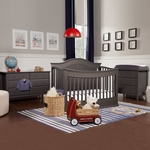 Davinci Meadow 3 Piece Nursery Set - 4 in 1 Convertible Crib, Autumn Changer Dresser and Jayden Double Dresser in Slate