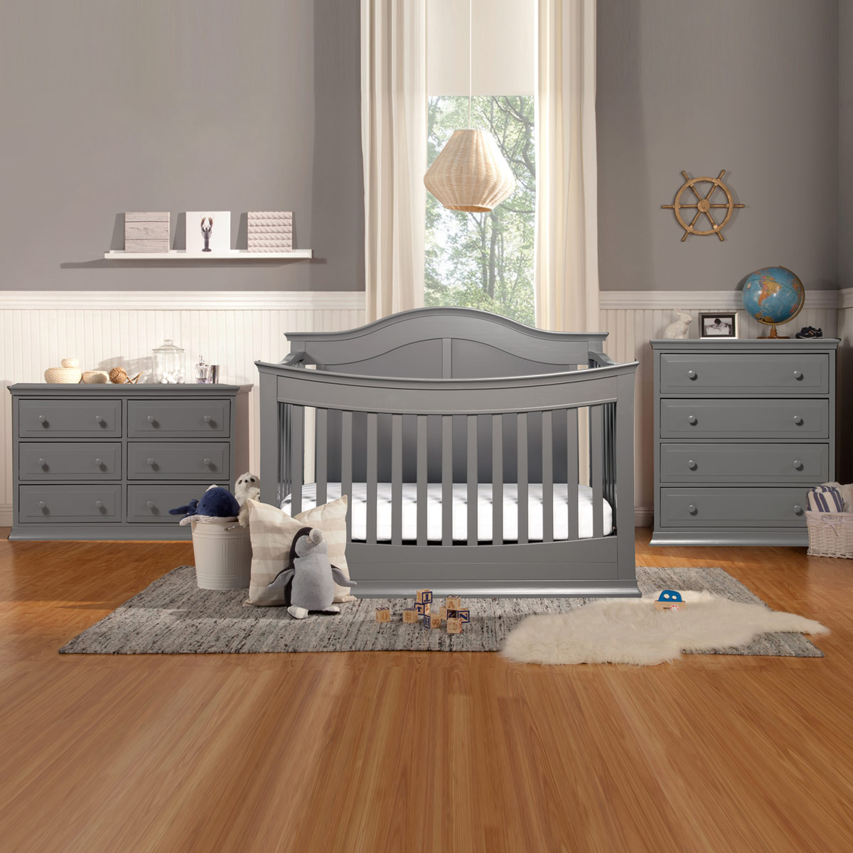 Davinci Meadow 3 Piece Nursery Set 4 In 1 Convertible Crib Signature Drawer Dresser And 6 Double Slate Free Shipping