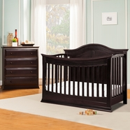 DaVinci Meadow 4-in-1 Convertible Crib and 4 Drawer Tall Dresser in Dark Java