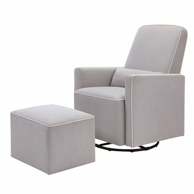 DaVinci Olive Upholstered Swivel Glider with Bonus Ottoman in Gray Finish with Cream Piping - Click to enlarge