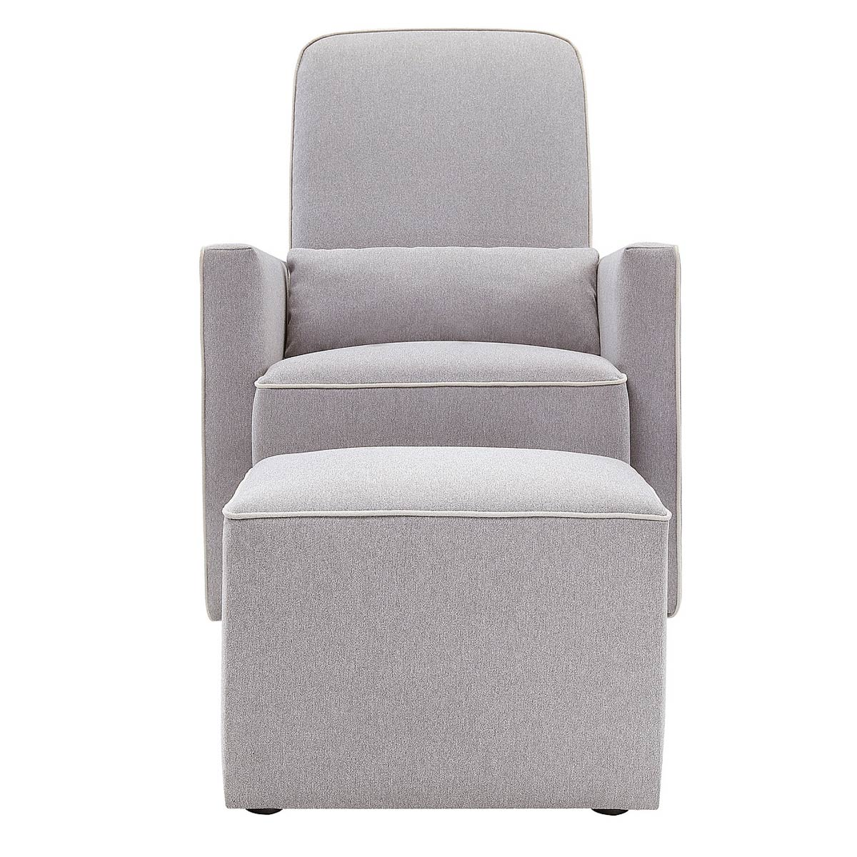 davinci olive upholstered swivel glider with bonus ottoman in gray finish with cream piping free shipping