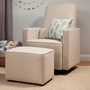 DaVinci Olive Upholstered Swivel Glider with Bonus Stationary Ottoman in Cream