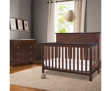Davinci Perse 2 Piece Nursery Set - Perse 3-in-1 Convertible Crib and 3 Drawer Changer in Espresso