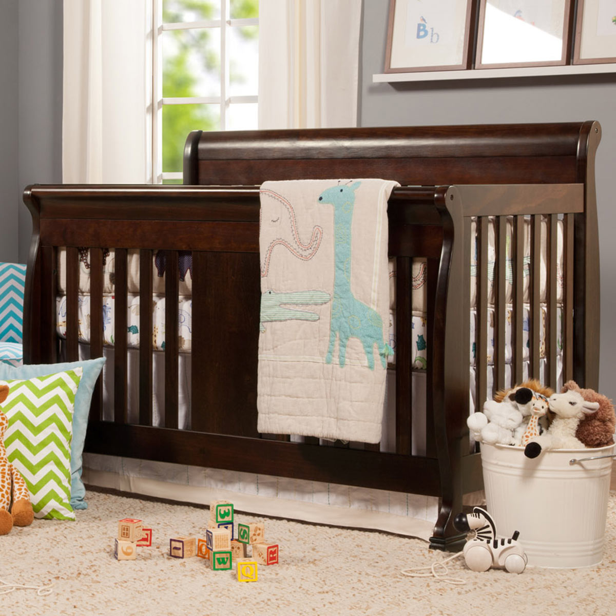 davinci porter 4in1 convertible crib with toddler bed conversion kit in chestnut free shipping