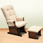 DaVinci Sleigh Multiposition Lock Glider and Ottoman in Beige with Espresso Wood