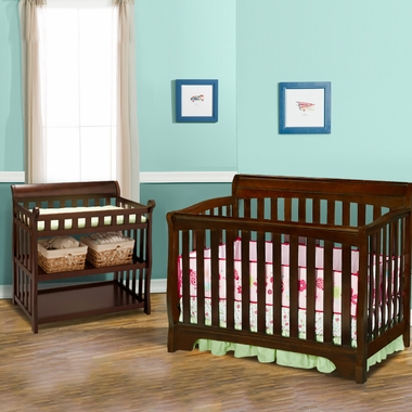 Delta 2 Piece Nursery Set   Eclipse 4 In 1 Convertible Crib And Changing  Table In