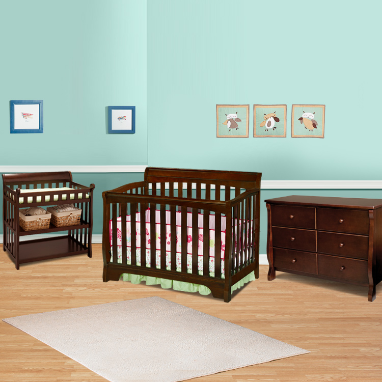 Delta 3 Piece Nursery Set Eclipse 4 In 1 Convertible Crib Changing Table And 6 Drawer Dresser Black Cherry Free Shipping