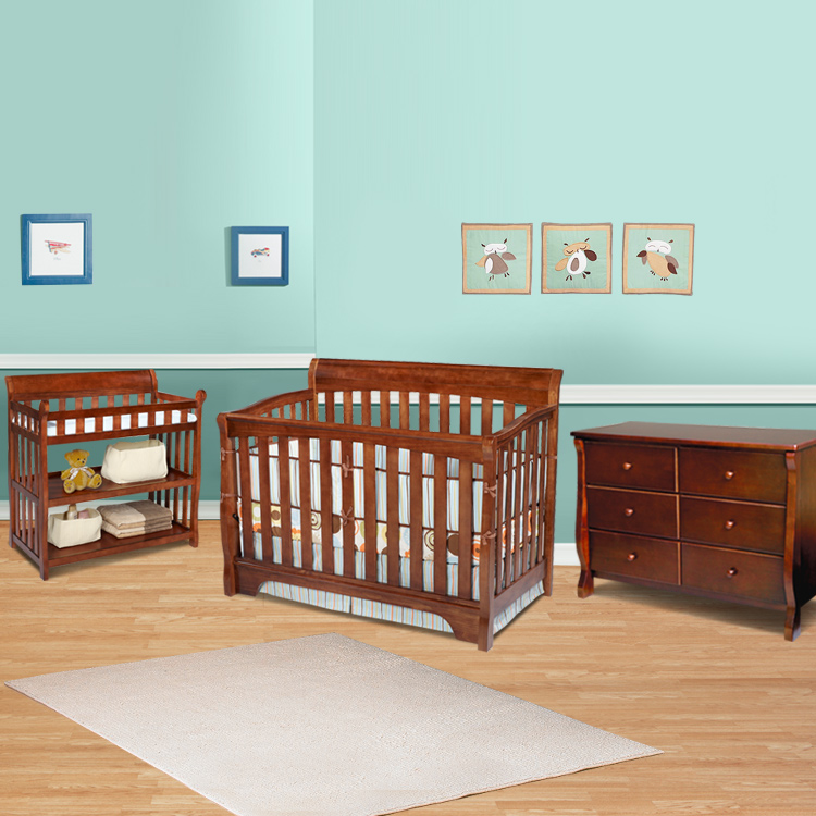 Delta 3 Piece Nursery Set   Eclipse 4 In 1 Convertible Crib, Changing Table  And 6 Drawer Dresser In Spice Cinnamon FREE SHIPPING