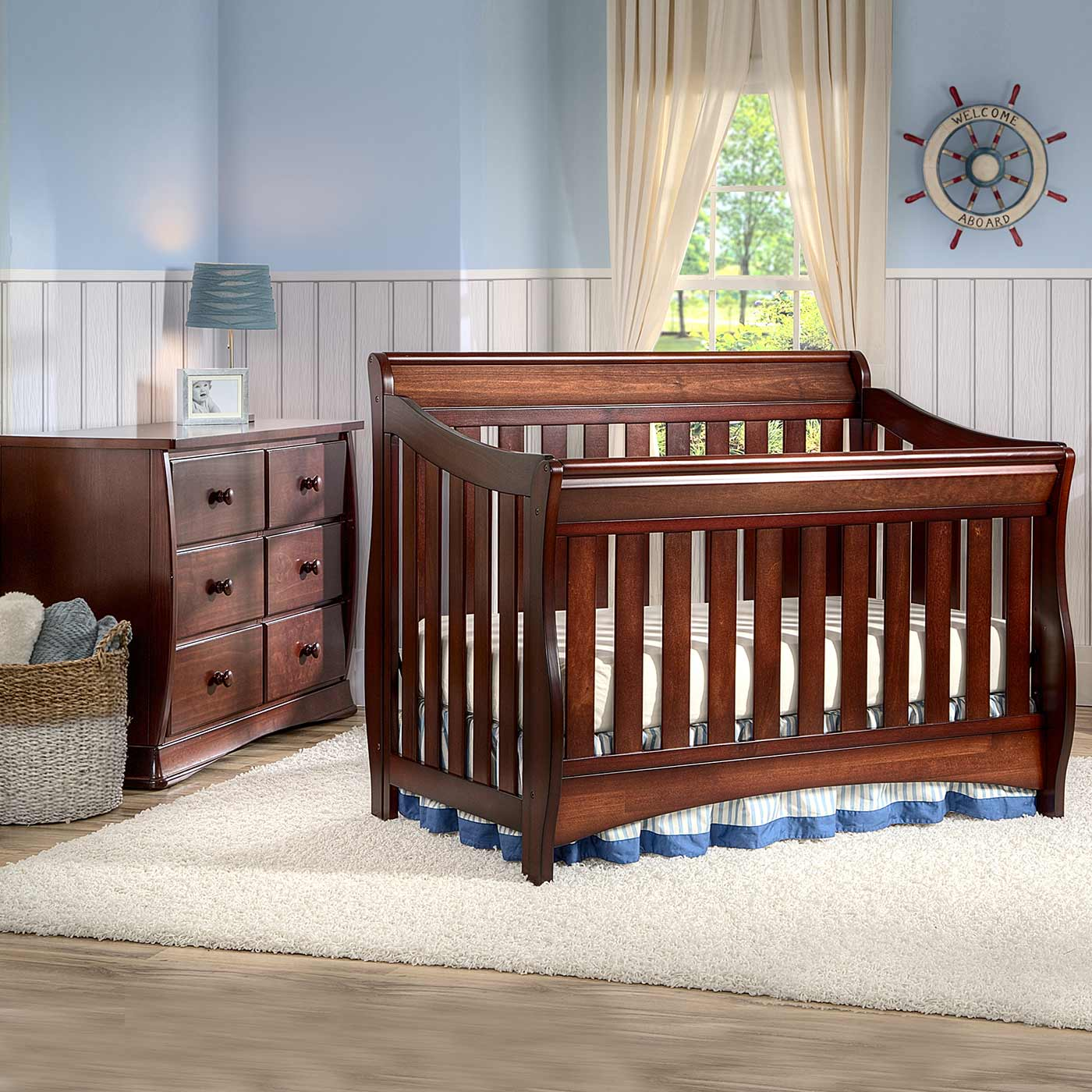 Delta Bentley 2 Piece Nursery Set Convertible Crib And 6 Drawer Dresser In Black Cherry Free Shipping