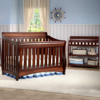 Delta Bentley 2 Piece Nursery Set Convertible Crib And Changing Table In Black Cherry Espresso