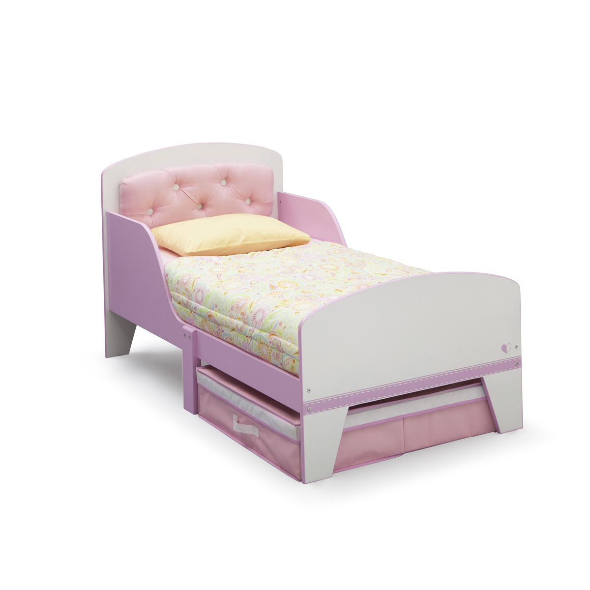 Delta Children Jack Jill Toddler Bed With Upholstered Headboard In Pink White Free Shipping