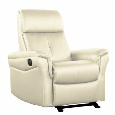 Dezmo Electric Push Button Recliner with Glider Motion in Bonded Cream Leather - Click to enlarge