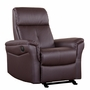 Dezmo Electric Push Button Recliner with Glider Motion in Bonded Dark Brown Leather