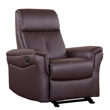 Dezmo Electric Push Button Recliner with Glider Motion in Bonded Dark Brown Leather - Click to enlarge