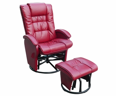 Dezmo Push Back Bonded Leather Recliner Glider Rocker with Swivel and Ottoman in Red